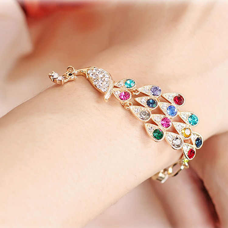 South Korea's new jewelry fashion Colorful sparkling Phoenix Peacock Bracelet