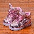 Детская Обувь Обувь для Девочек Новый 2017 Европейская Мода Милый СВЕТОДИОДНОЕ Освещение Прекрасные Дети Девушки Кроссовки Высокое Качество Cool boy Девушки Сапоги