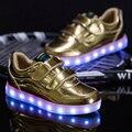 2016 Zapatos de Los Niños Con La Luz Niños Y Niñas Casuales Zapatos LED Para niños de la Buena Calidad LED Light Up Usb 4 Colores Zapatos de Los Niños 25-35