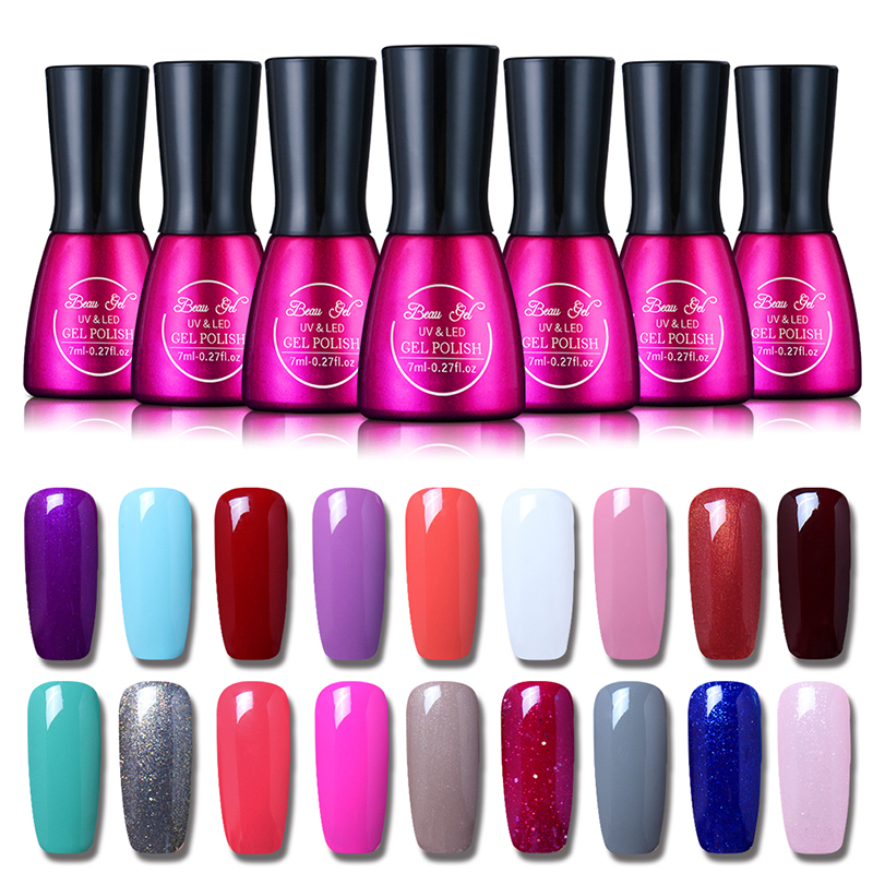 beau gel uv vernis semi permanent 7ml uv nail gel polish soak off long lasting led nail polish. Black Bedroom Furniture Sets. Home Design Ideas