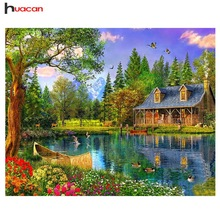 Lakeside cabin home decor diy berlian lukisan penuh berlian bordir gambar mozek lukisan rhinestones wall art D070