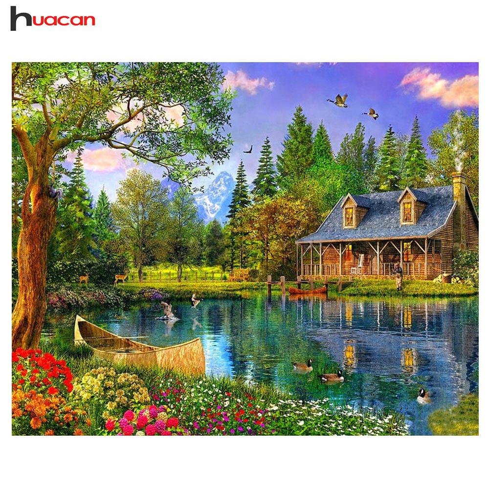 на берегу озера кабина декор дома diy алмаз картина полный алмазов вышивка мозаичные картина из страз пейзаж стены искусства d070