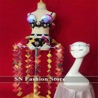 EC79 костюмы для бальных танцев dj бикини в виде ракушки блесток зеркало платья женщин певица наряды одежда бар юбка вечерние Вечери