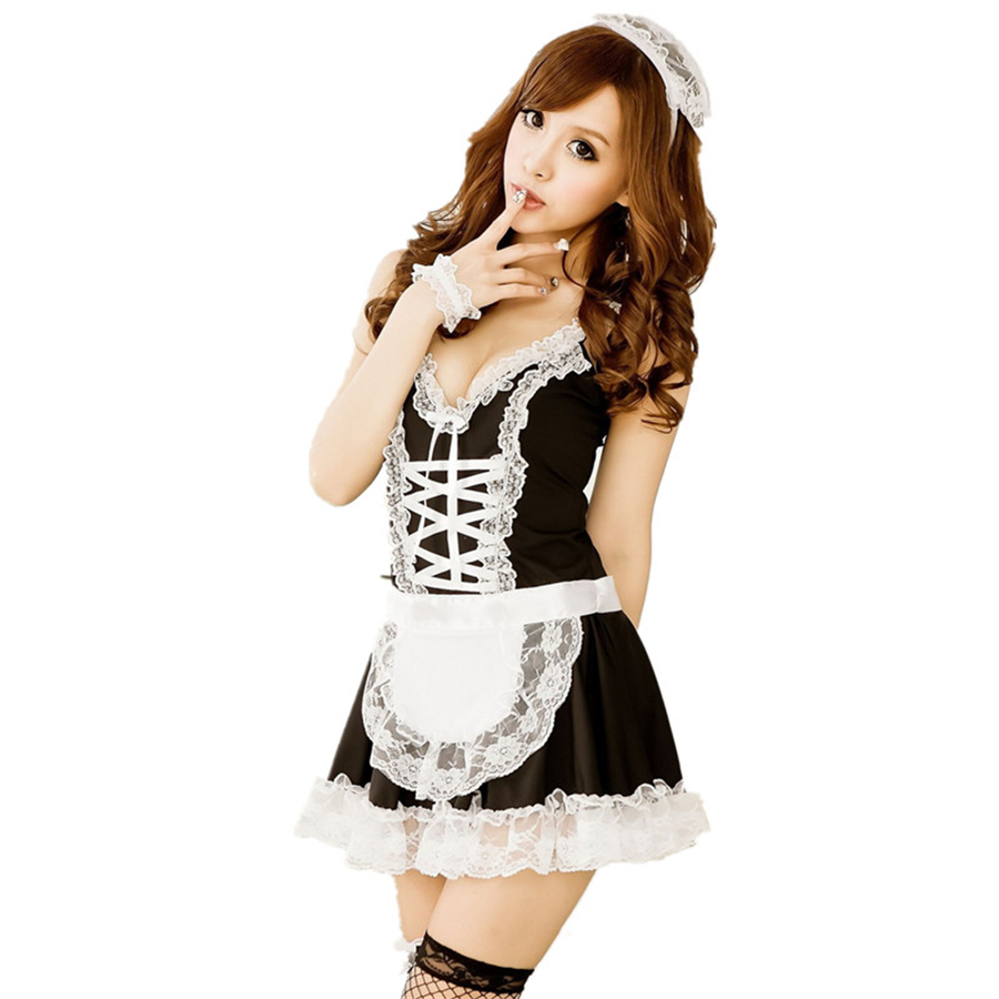 White ruffle apron amazon - Sexy Lingerie Maid Women Black White French Apron Maid Servant Costume Dress Waitress Uniform Sexy Maid