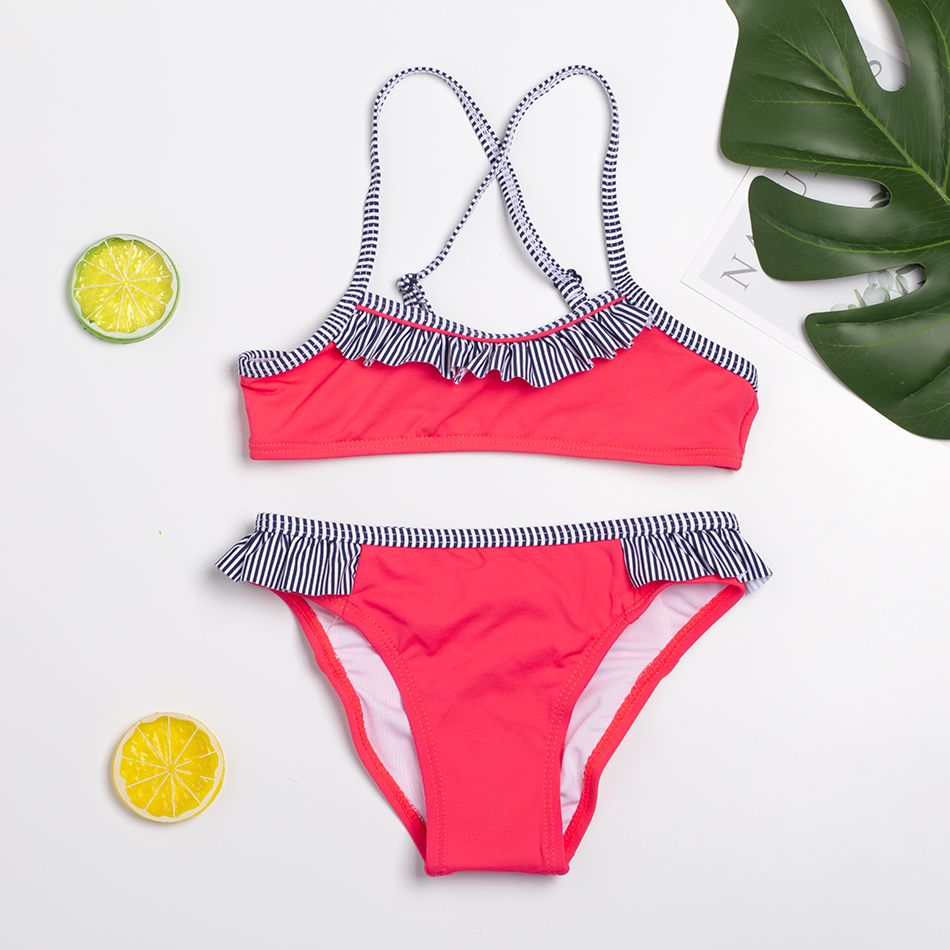 NEW Arrival Girls Swimsuit 2~14Year Girls Bikini Sets Two Pieces Children Swimwear Kids Bathing Suit Biquini Infantil-ST139
