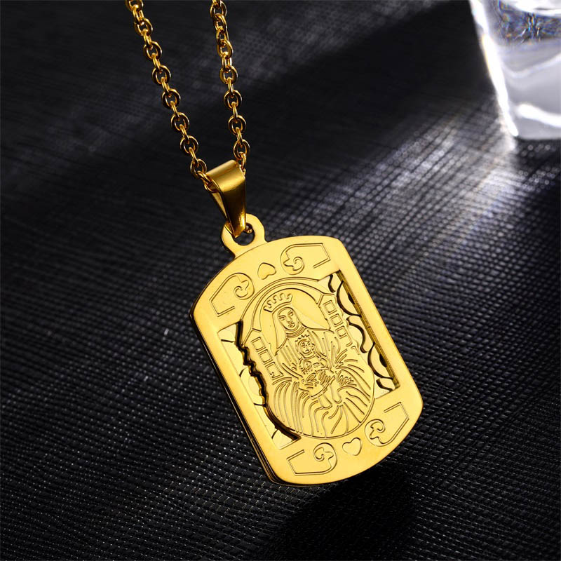 Stainless Steel Religious Virgin Mary Pendant Chain Necklace Jewelry Unisex Hot