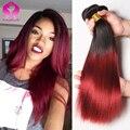 Малайзийский Прямо Девы Волос 4 Связки Красный Малайзийские Виргинские Волосы Прямые 1B Бургундия Прямо Бордовый Переплетения 4 Пучки Продажа