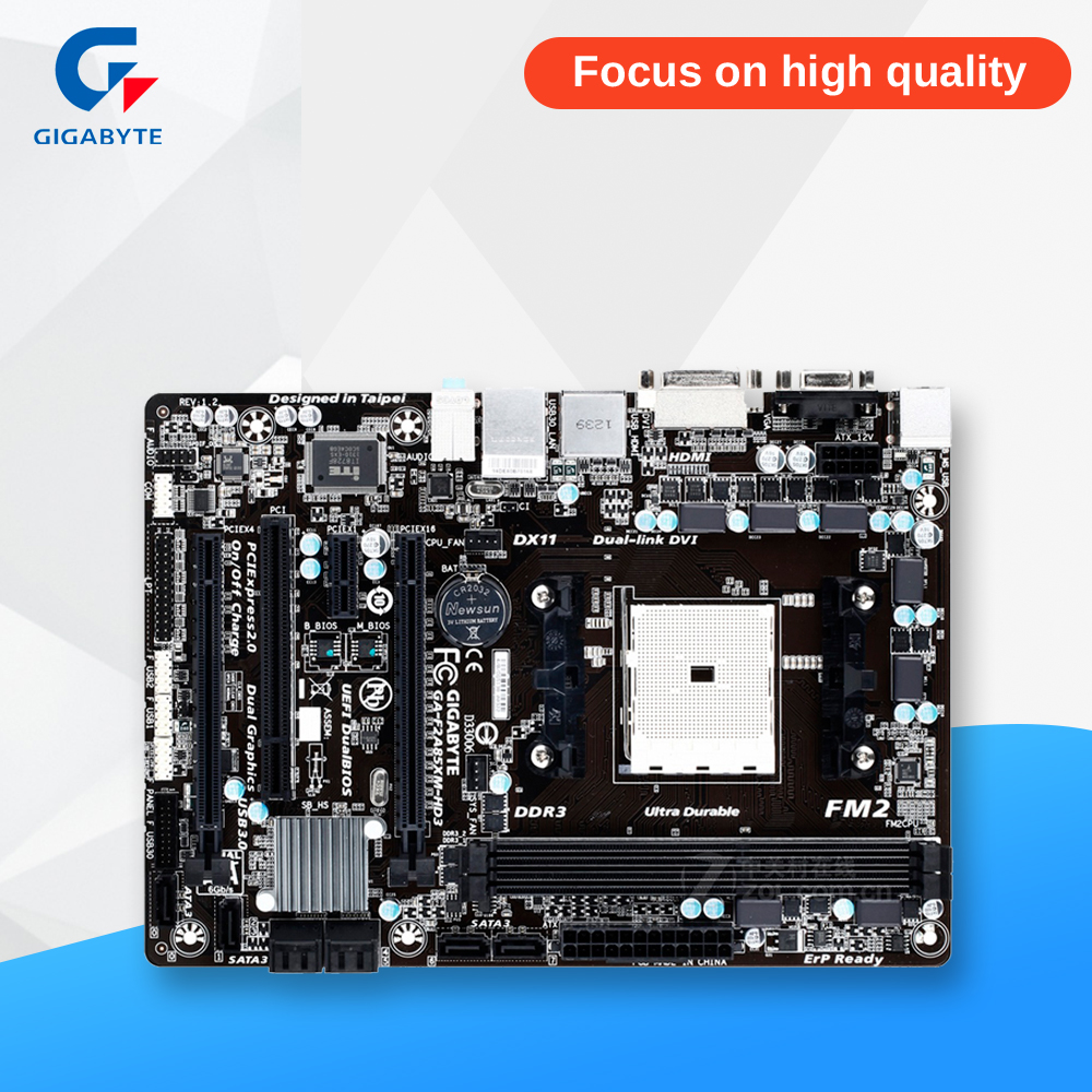 Gigabyte GA-F2A85XM-HD3 Original Used Desktop Motherboard F2A85XM-HD3 A85X Socket FM2 DDR3 SATA3 USB3.0 Micro ATX gigabyte ga 870a usb3 original used desktop motherboard 870 socket am3 ddr3 sata3 usb3 0 atx