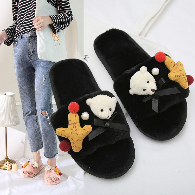 Liren 2019 New Summer Women's Slipper Home Shoes for Women Fashion Lovely Bear Star Indoor House Slippers with Fur Casual Shoes