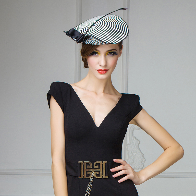 Small ceremony fedora hats for women Black and white stripe elegant fashion  tea party church hat free shipping New Arrival-in Fedoras from Apparel ... ac672bb5dff