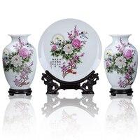 Jingdezhen ceramics pastel peony three sets of modern fashion decoration decoration Home Furnishing vase plate