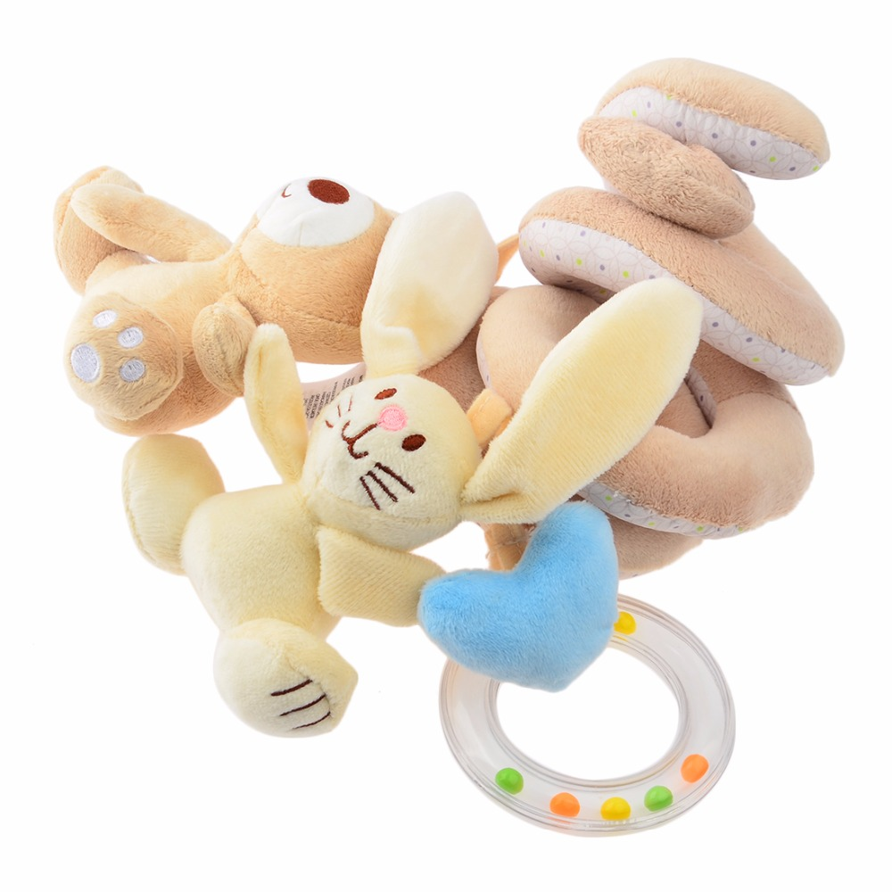 Crib activity toys for babies - Babelemi Plush Cute Bear Infant Babyplay Activity Spiral Bed Stroller Plush Bay Toys Set Hanging Bell Crib Rattle Toy For Baby
