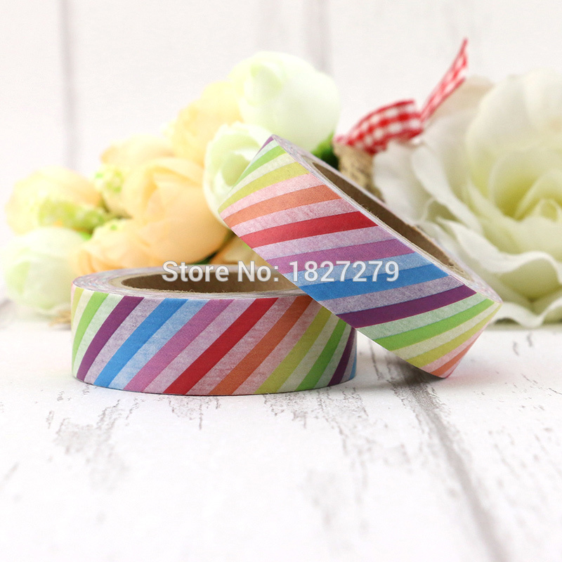 1pcs  Rainbow Colorful Stripes Washi Tape Decorative Tape Papelaria Label Masking Sticker Tape