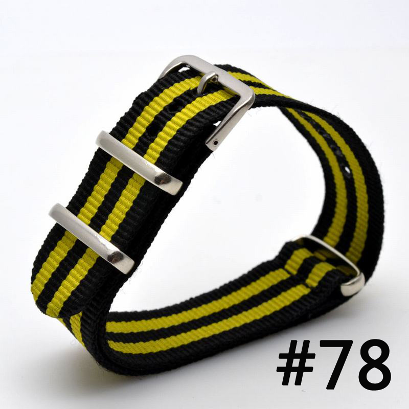 2016 Watch 22 mm bracelet MultiColor black yellow Army Military nato fabric Woven Nylon watchbands Strap Band Buckle belt 22mm 22mm nylon watchband for pebble time steel smart watch band nato army military fabric strap wrist bracelet multi colors tool