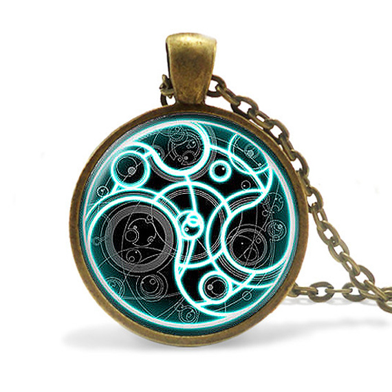 New Steampunk handmade uk movie dr doctor who bomb Necklace 1pcs lot bronze Glass silver Pendant