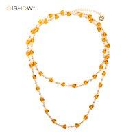 ISHOW Moda Tasarım İşlevli Boncuk Kolye Kadın Collier Altın Zincir Uzun Kolye Sierden Bildirimi Kolye Collares