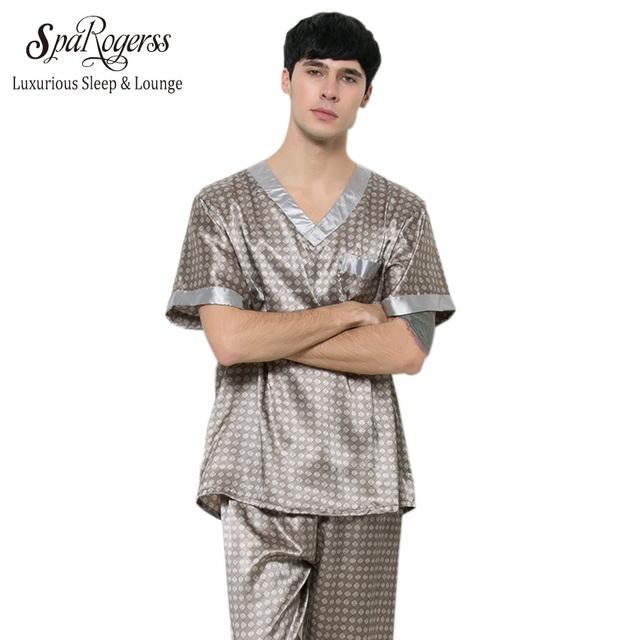 Yao Ting Conjunto de Pijama de Los Hombres 2017 de Moda de Verano de Diseño de Lujo los hombres Del Sueño Salón de Ocio 2 Unids Ropa Interior Pijamas Pa TZ165