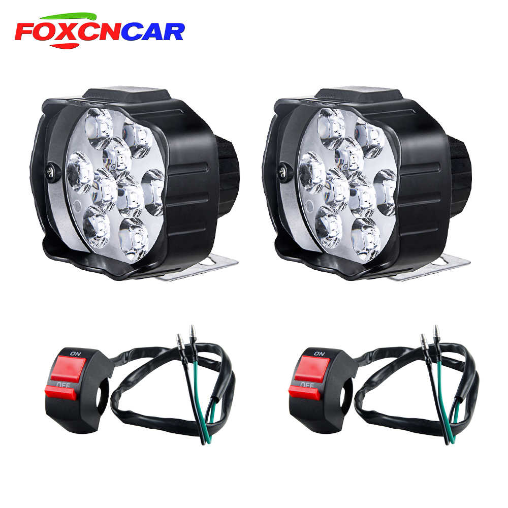 LED Motorcycle Headlight Auxiliary Lamp LED Motorbike Mopeds Spotlight Accessories Moto DRL Car Work Fog Spot Head Lights 9-85V