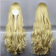 MCOSER Very Beauty Halloween Blond Lady Long Curly Cosplay Wig European Golden 80cm Long Wavy Cosplay Wig