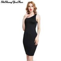 Summer Women Dress Korean Fashion Clothing Solid Black Sleeveless Pencil Mini Dress One Shoulder XS-2XL Vestidos Robe