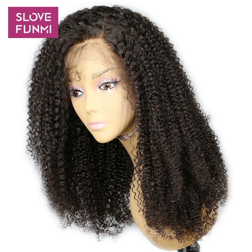 Kinky Curly Wig Lace Front Human Hair Wigs For Black Women With Baby Hair Bleached Knots