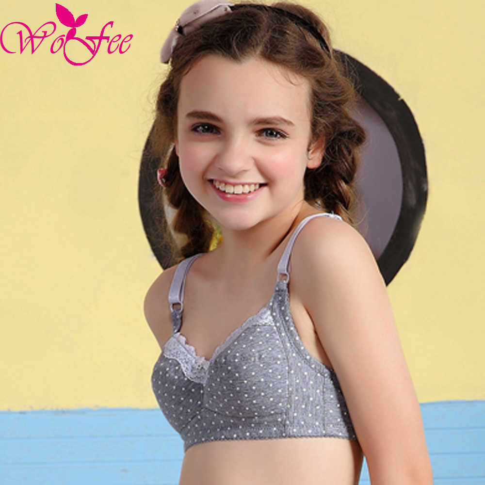 92de6b3857 ... Tsfit-Land Young Girls Dots Printing One-Piece Thin Lace Training Bras  With Three ...