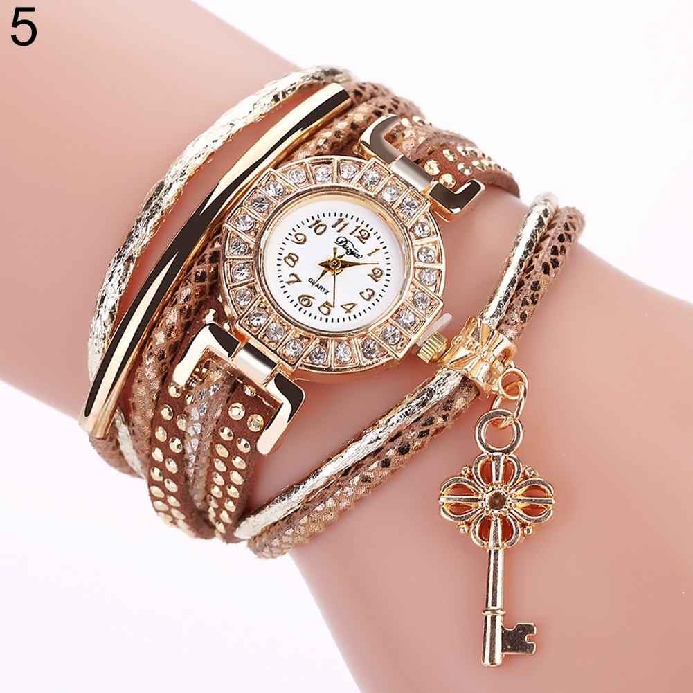 Key Pendant Multi Layer Rivets Band Arabic Numerals Quartz Bracelet Wrist Watch Fashion Casual Relogio Female