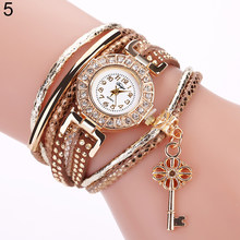 cf24a016008 Key Pendant Multi-Layer Rivets Band Arabic Numerals Quartz Bracelet Wrist  Watch Fashion Casual Relogio
