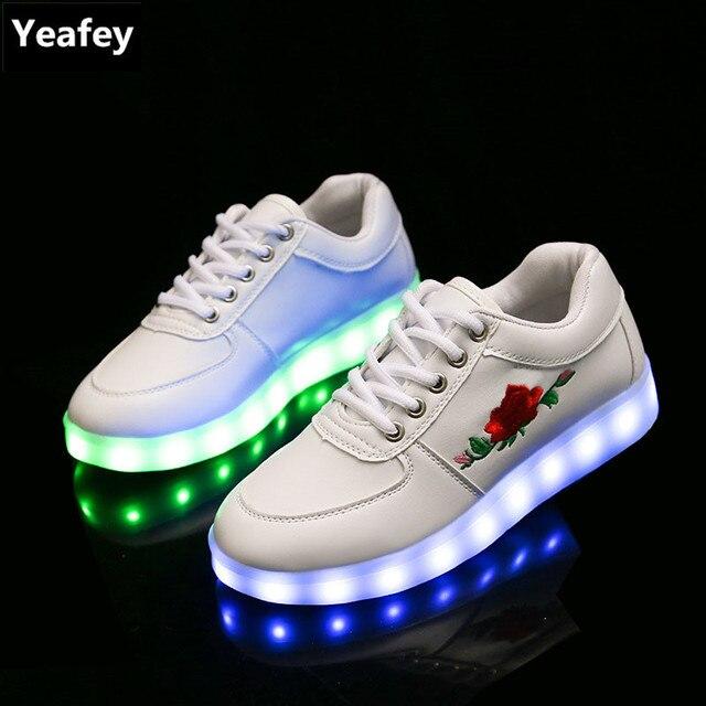 38497ab10e4b € 30.73 |Yeafey Correr luminoso krasovki sneakers para mujer Red Rose moda  sneakers luminoso niños Zapatos para Niñas LED Zapatillas en Zapatillas ...