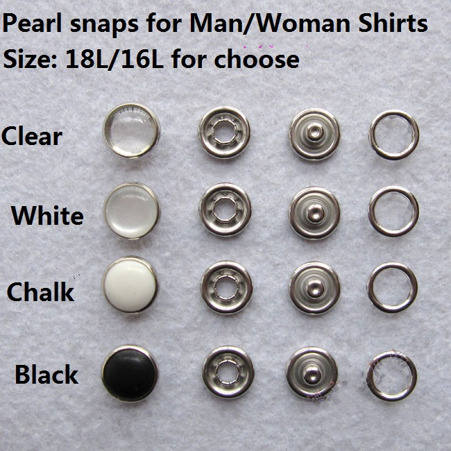 100set Black White Pearl Snaps Buttons For Shirts Bag