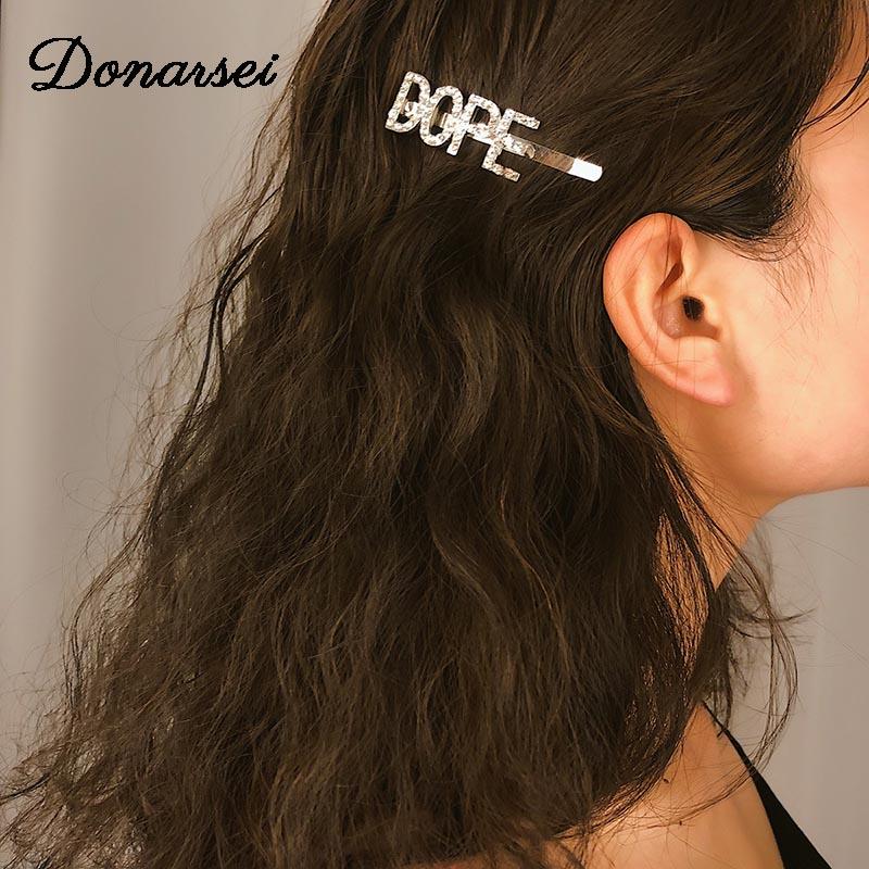 Gift Letter  Crystal  Hairpin   Clip   Hair Barrette Hair   Rhinestone  Smile