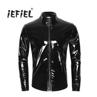 Men S Clothing Shiny Metallic Long Sleeve Front Zip Stand Collar Tops Wet Look Patent Leather