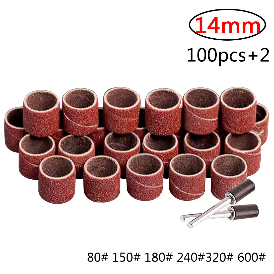 Nail Drill Bits Abrasive Tools 100 Pcs 14MM Drum Sanding Kit +2pcs Band Mandrel For Sand Shape Groove Wood Fiberglass Rotary Too