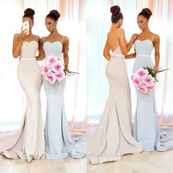 Spaghetti Straps Satin Mermaid Bridesmaid Dresses 2019 Custom Made African Prom Party Dress Wedding Guest Gowns