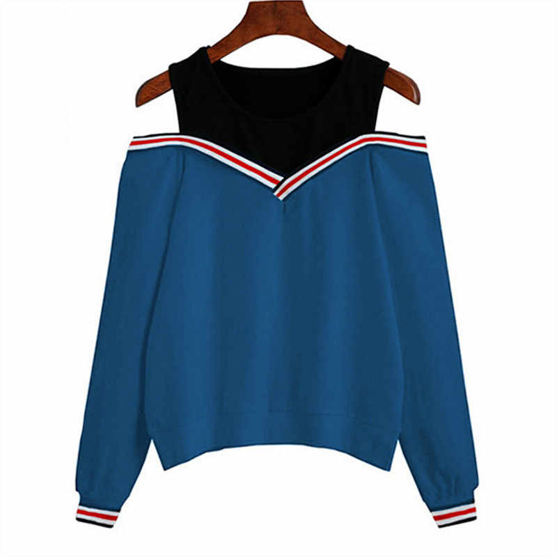 d6fac78a1c719 ... Rogi Female Jumper Sweatshirt 2018 Off Shoulder Patchwork Hoodies Top  Autumn Winter Crew Neck Pullovers Tracksuit ...