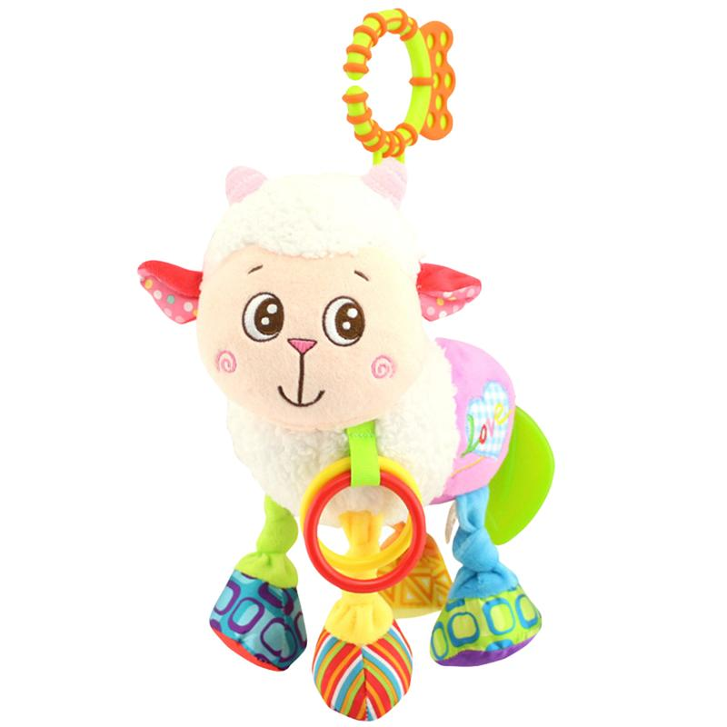Cute Soft Plush Toys Sheep Animal Baby Dolls Soft Baby Kids Bed Stroller Hanging Rattle Toys for Infant Stroller
