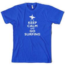 цена Keep Calm and Go SurfER - Mens T-Shirt - SurfER Holiday  Print T Shirt Mens Short Sleeve Hot Fashion Classic онлайн в 2017 году
