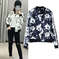 In the spring of 2017 European style fashion all-match female floral print jacket buttons show thin baseball uniform
