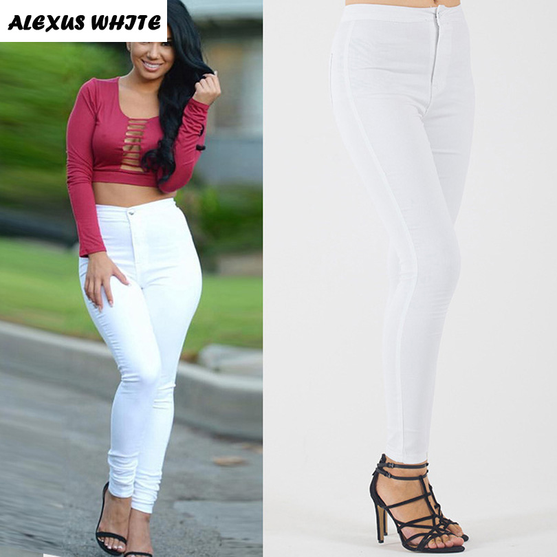 Pencil Stretch Pants Women 2018 Slim Casual Skinny Jeans Female High Waisted Denim Trousers White