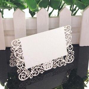Image 2 - 50 Uds. De tarjetas de encaje blanco para decoración de boda, mesa de decoración, nombre, Mensaje, tarjeta de felicitación, suministros para fiesta de Baby Shower