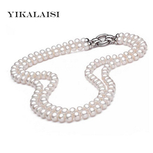 YIKALAISI 2017 100% Genuine Natural freshwater pearl necklace for women  925 sterling silver Jewelry  8-9 mm pearl  best gifts