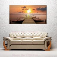 Sunset Landscape Pictures Wooden Bridge Trees Artwork for Living Room Lobby Home Decor Giclee Print Dropshipping