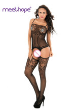 Sexy lingerie European sexy temptation hollow underwear dolls open female transparent erotic Siamese stockings