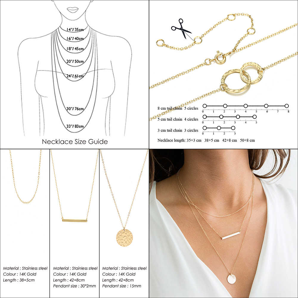 Women Necklace DIY letter Stainless Steel Necklaces gold Chain Choker Necklace Women Statement Personalized jewelry Best friend