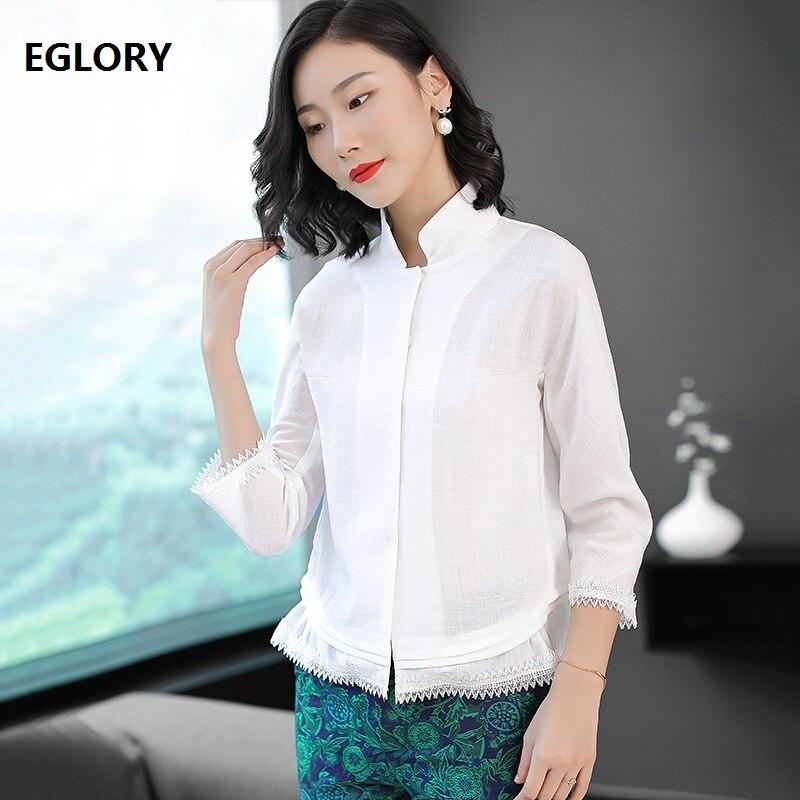 Haute qualité marque femmes coton chemises 2018 automne printemps Blouse dames dentelle Patchwork 3/4 manches élégantes hauts blancs chemise XXL