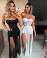 Top Quality White Black Strapless Lace Slitted Maxi Long Dress Bandage Women's Dress Celebrity Night Party Dress