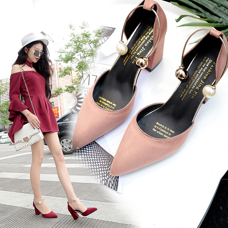 2018 new Korean version of the wild suede pointed high heels word buckle single shoes sexy comfortable trend high heels