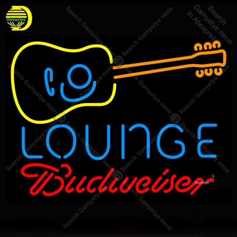 Neon Sign for Budweise Neon Guitar Lounge neon bulb Sign Decor Room Neon lights Sign glass Tube Iconic Light anuncio luminoso led080 r walk ins welcome led neon sign whiteboard