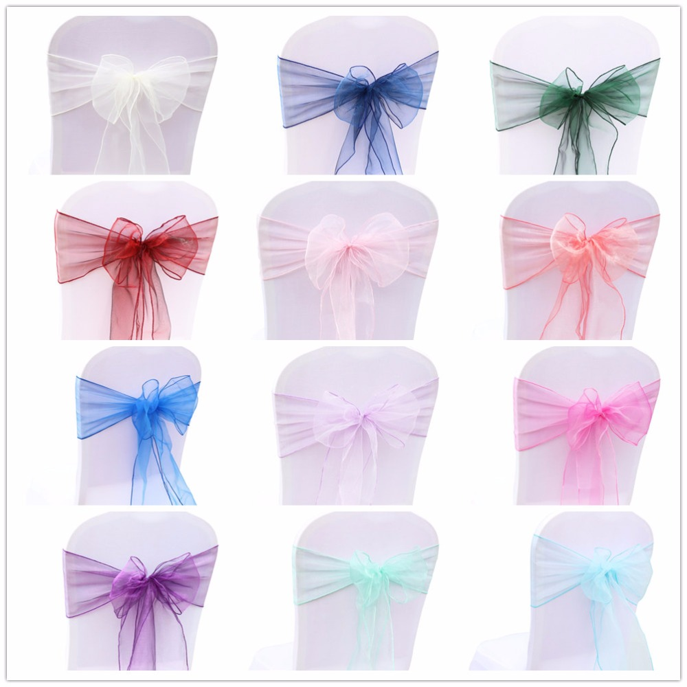 50pcs 18cmx275cm Organza Chair Sash Bow For Cover Banquet Wedding Party Event Chrismas Decoration Sheer Organza Fabric Supply