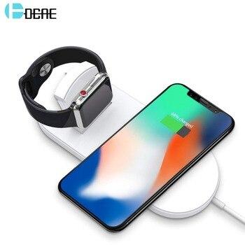 DCAE 10 W QI Kablosuz iphone şarj cihazı XS MAX XR X 8 Samsung S9 S8 2 in 1 Hızlı Kablosuz Şarj pad Için Apple Izle 4 3 2 Dock